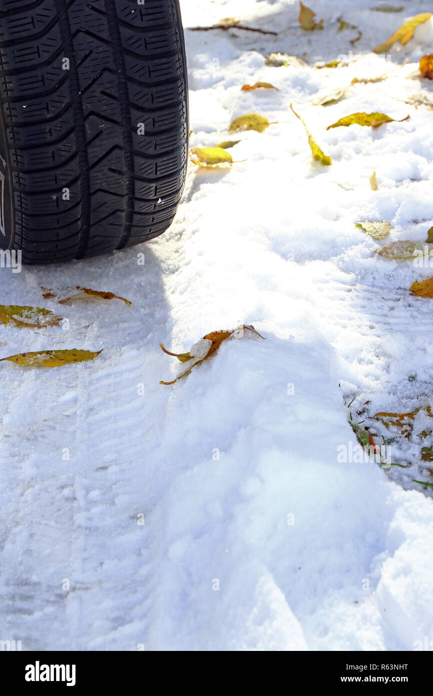 good winter tires for autumn and winter are important. winter tires for snow Stock Photo