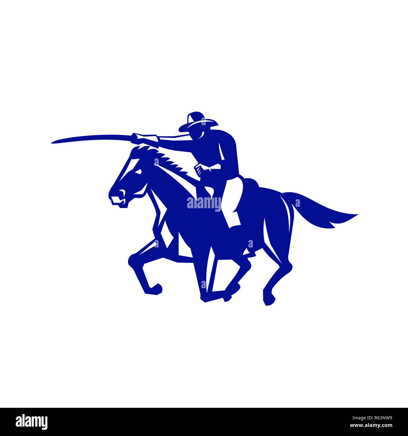 American Cavalry Charging Retro - Stock Image