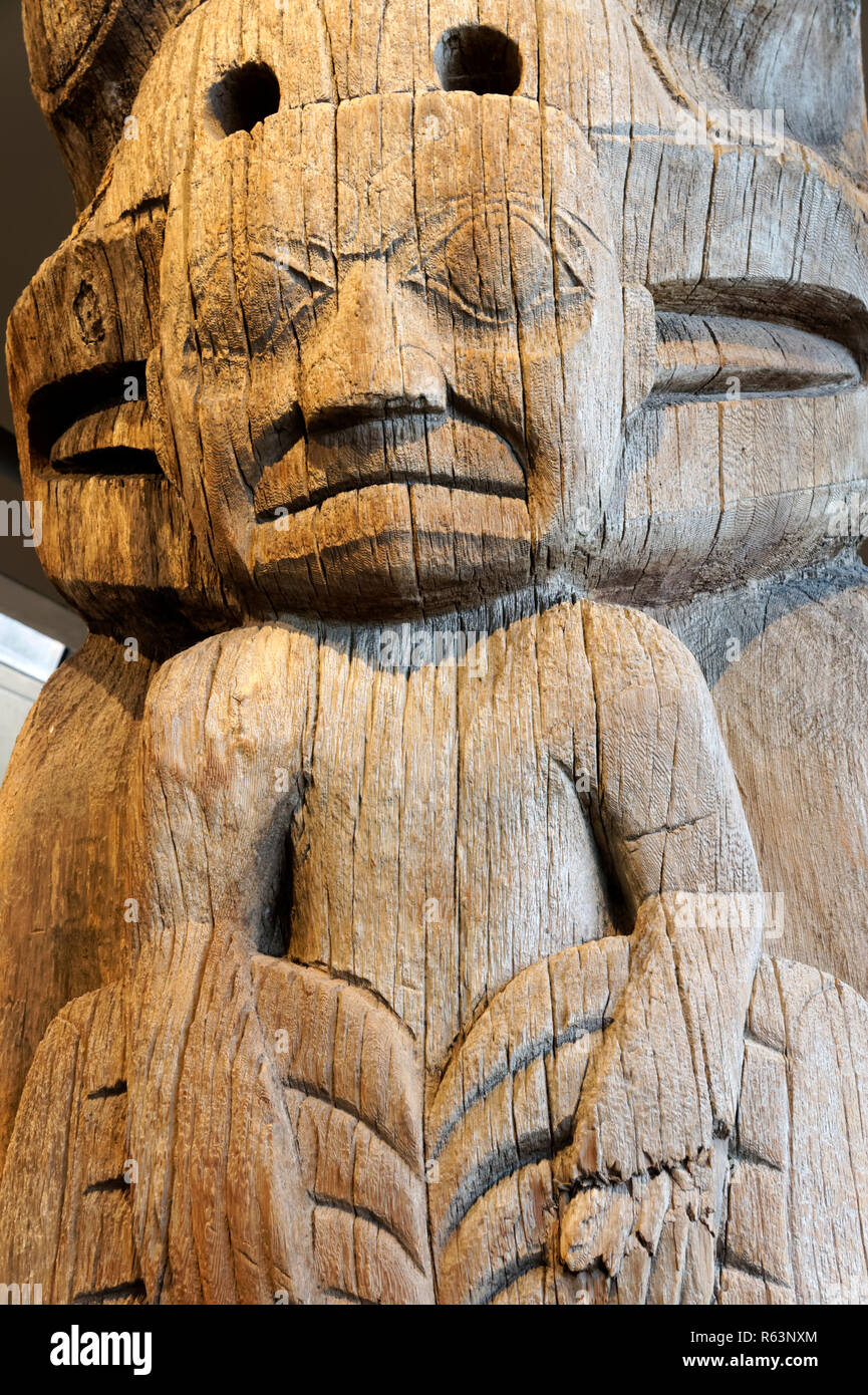 Detail of Haida house frontal totem pole Museum of Anthropology MOA, University of British Columbia, Vancouver, BC, Canada - Stock Image