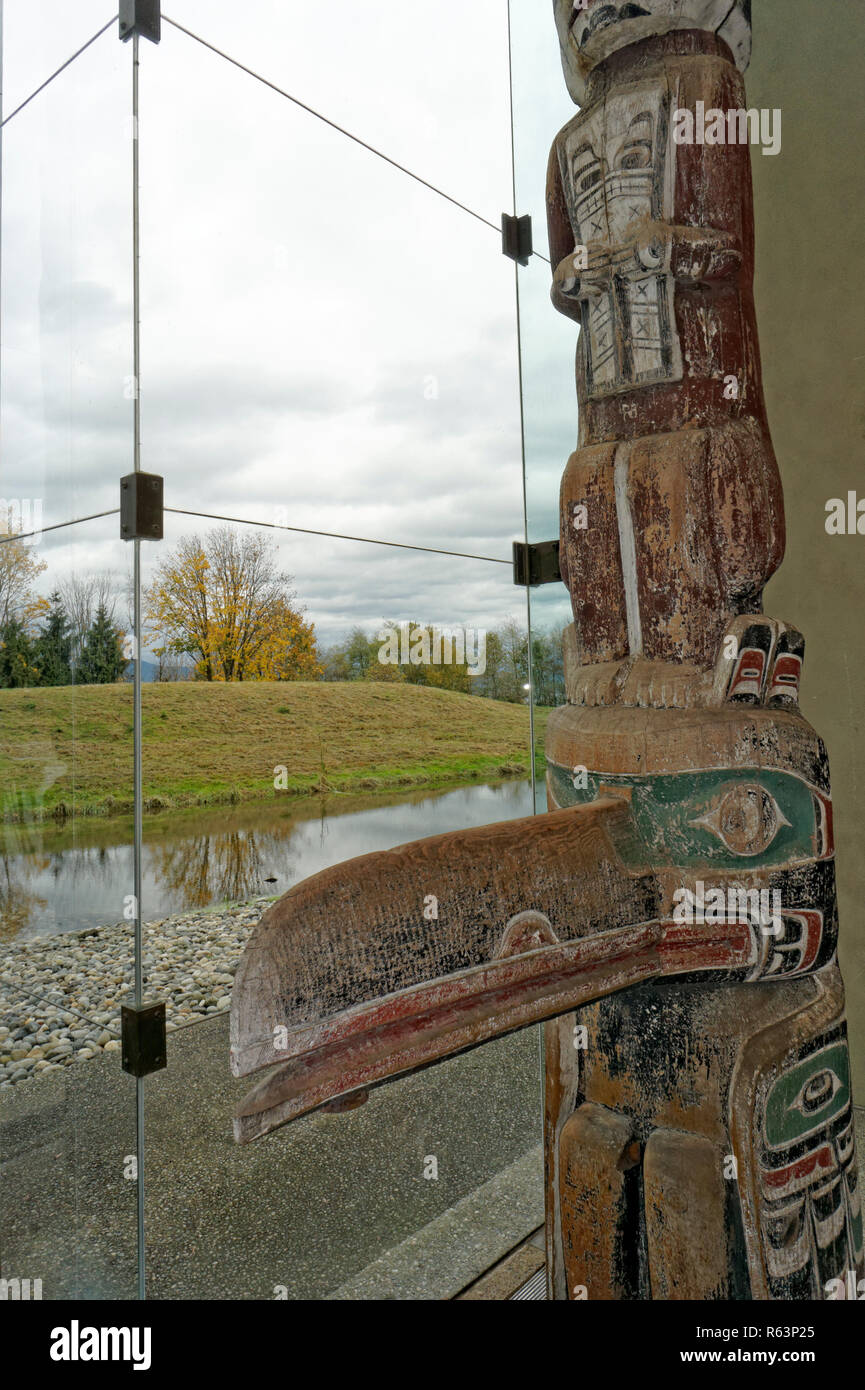 Pacific Northwest totem pole in the Great Hall of the Museum of Anthropology MOA, University of British Columbia, Vancouver, BC, Canada - Stock Image