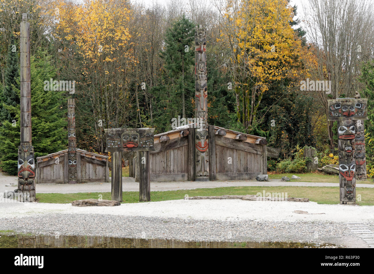 Haida village on the grounds of the Museum of Anthropology MOA, University of British Columbia, Vancouver, BC, Canada - Stock Image