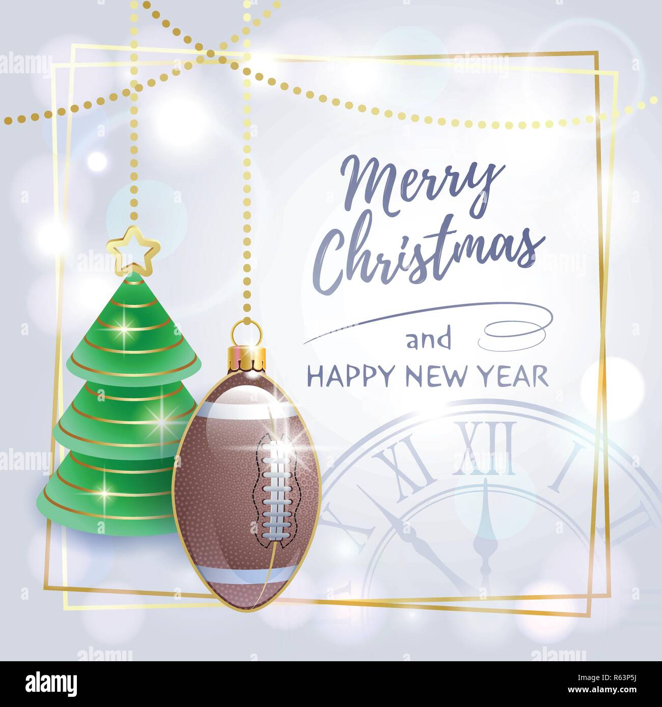 Merry Christmas Happy New Year Sports Greeting Card American