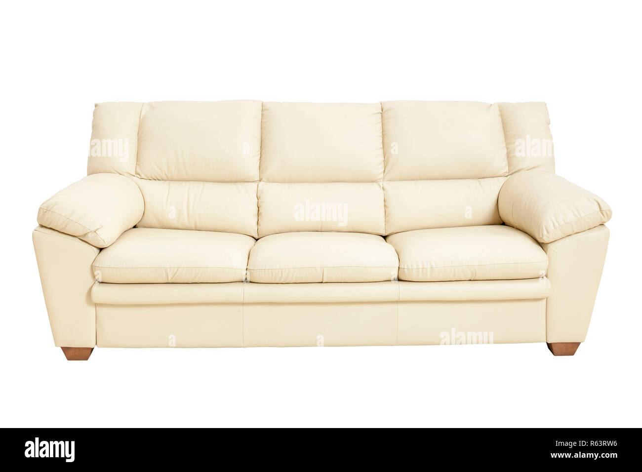 Stupendous Three Seats Cozy Leather Sofa In Nice Champagne Color Pdpeps Interior Chair Design Pdpepsorg