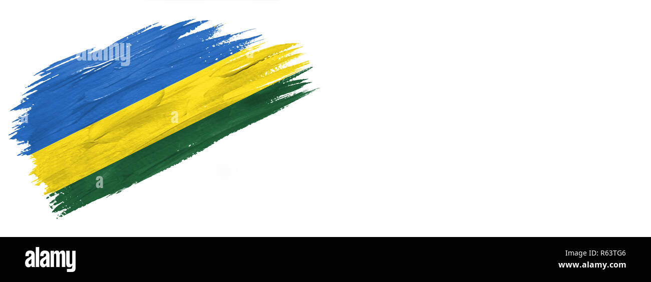 brushes painted flag. Hand-drawn style flag of Rwanda isolated on white background with place for text. - Stock Image