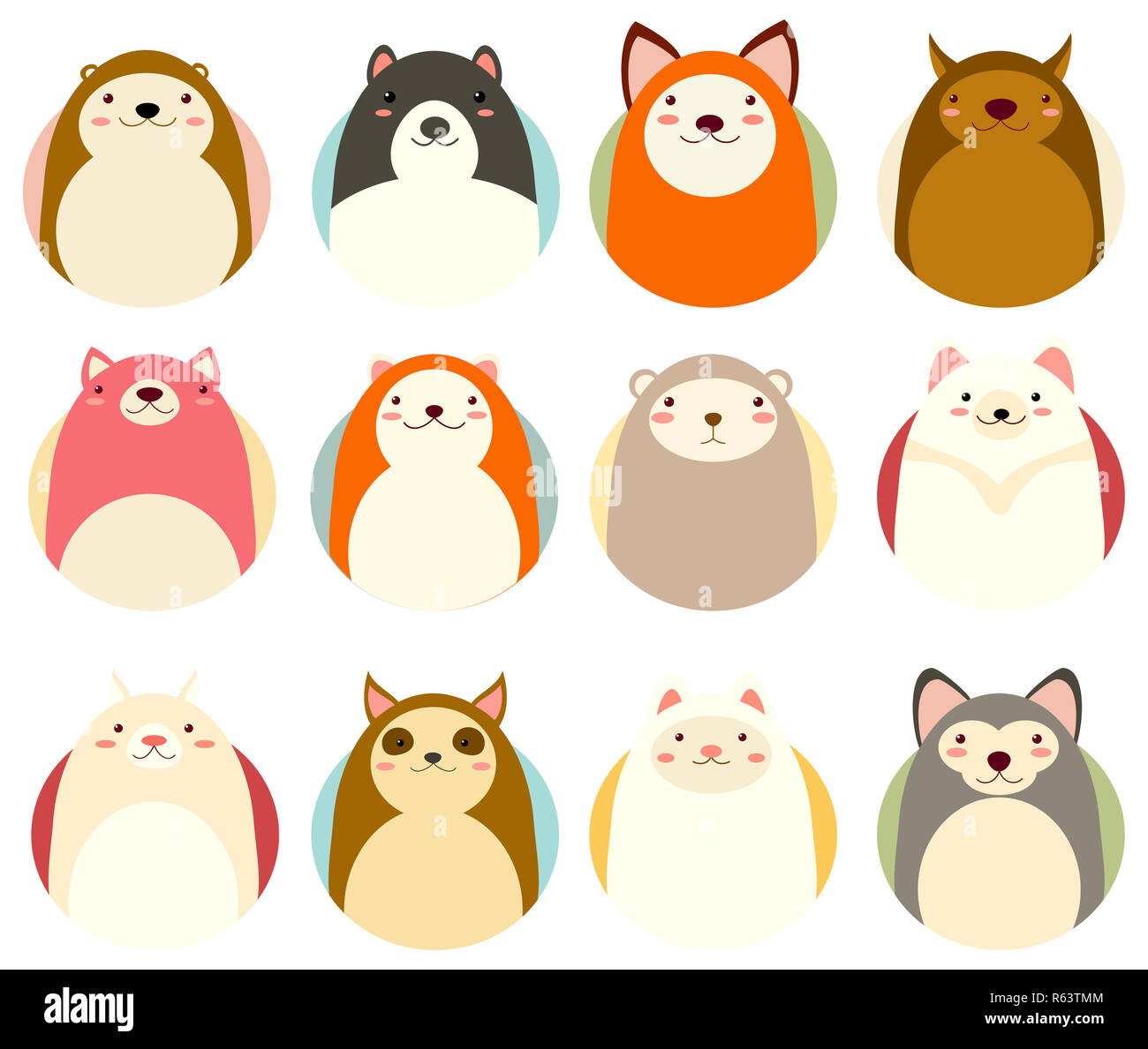 Set of avatars icons in naive hand drawn style with cute animals in retro pastel colors. EPS8 - Stock Image