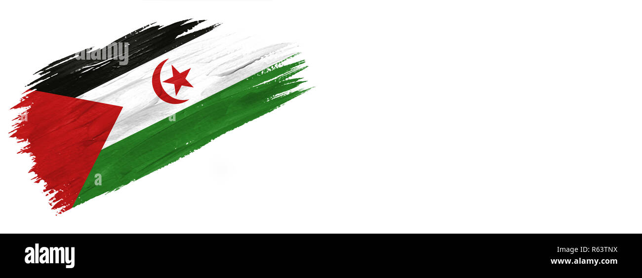 brushes painted flag. Hand-drawn style flag of Western Sahara isolated on white background with place for text. - Stock Image