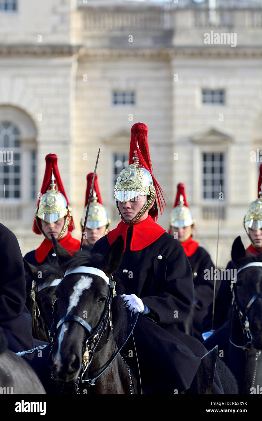 Household Cavalry - Blues and Royals - on Horse Guards Parade, London, England, UK. - Stock Image