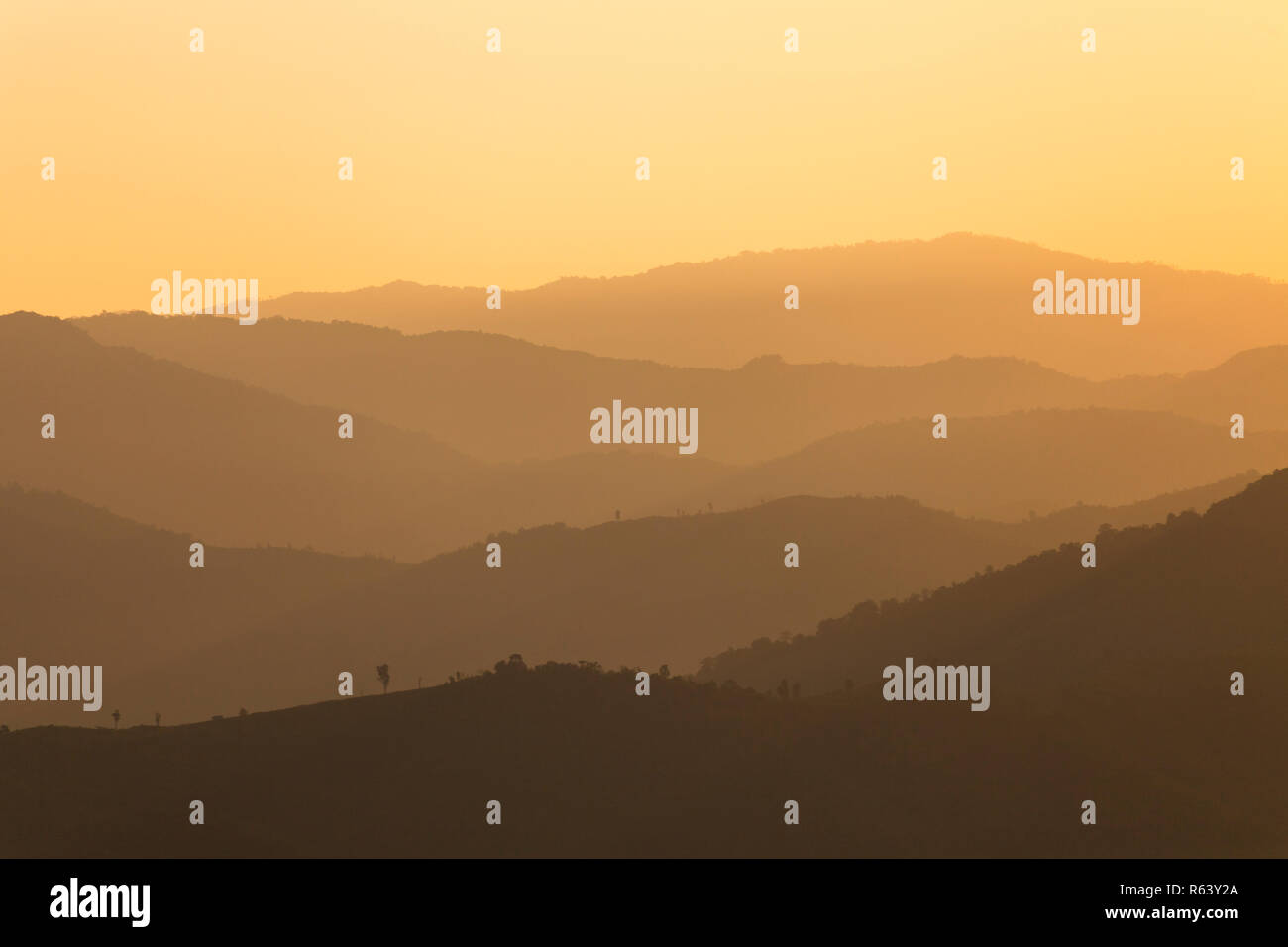 Beautiful layer of cordillera in Mon kiew-lom view point Mae Moei National Park, Tak Province, thailand - Stock Image