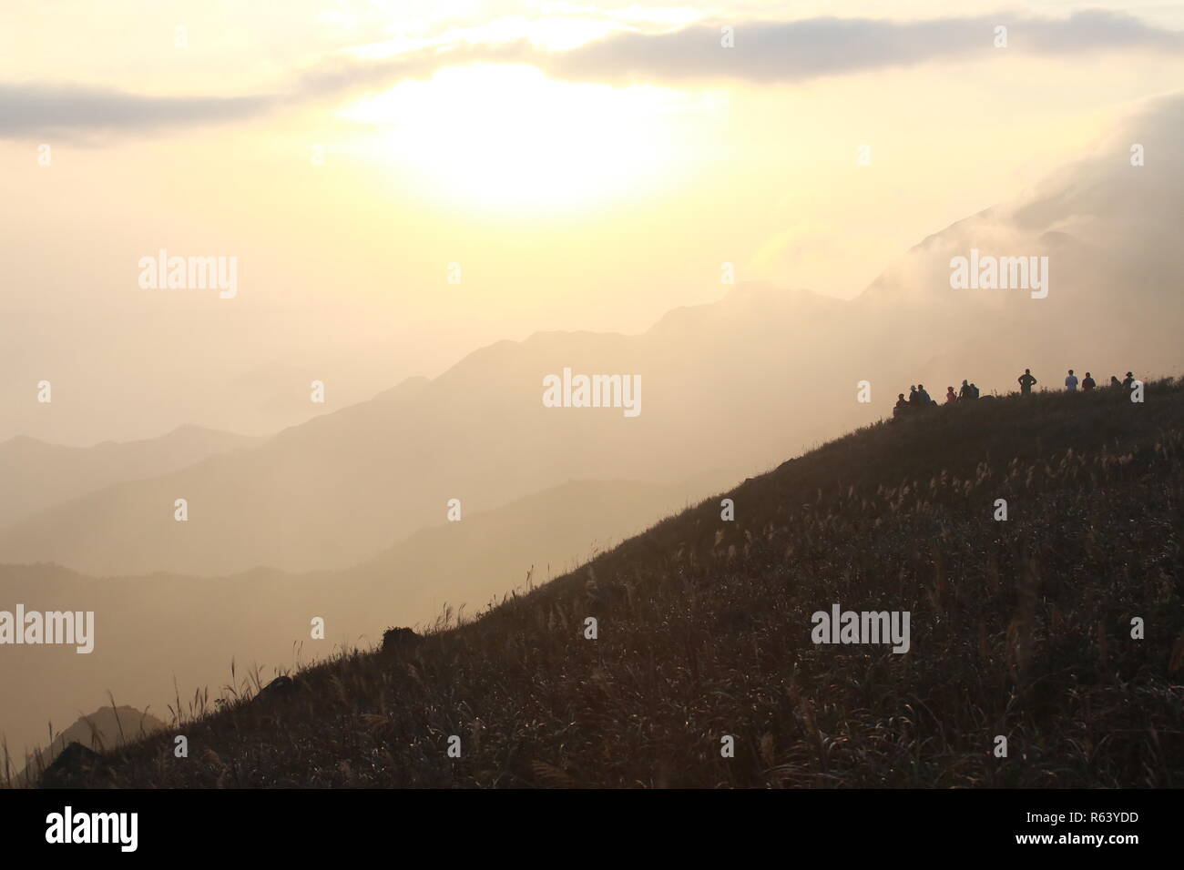 sunset peak in lantau island, hong kong - Stock Image