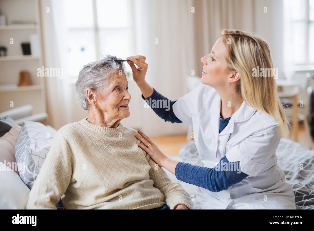 A Health Visitor Combing Hair Of Senior Woman At Home Stock Photo Alamy