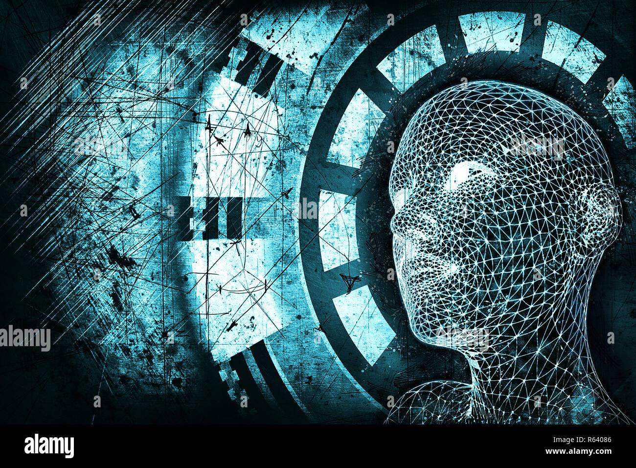 Abstract Blue Digital Human Head On Dark Grunge Background Robotics