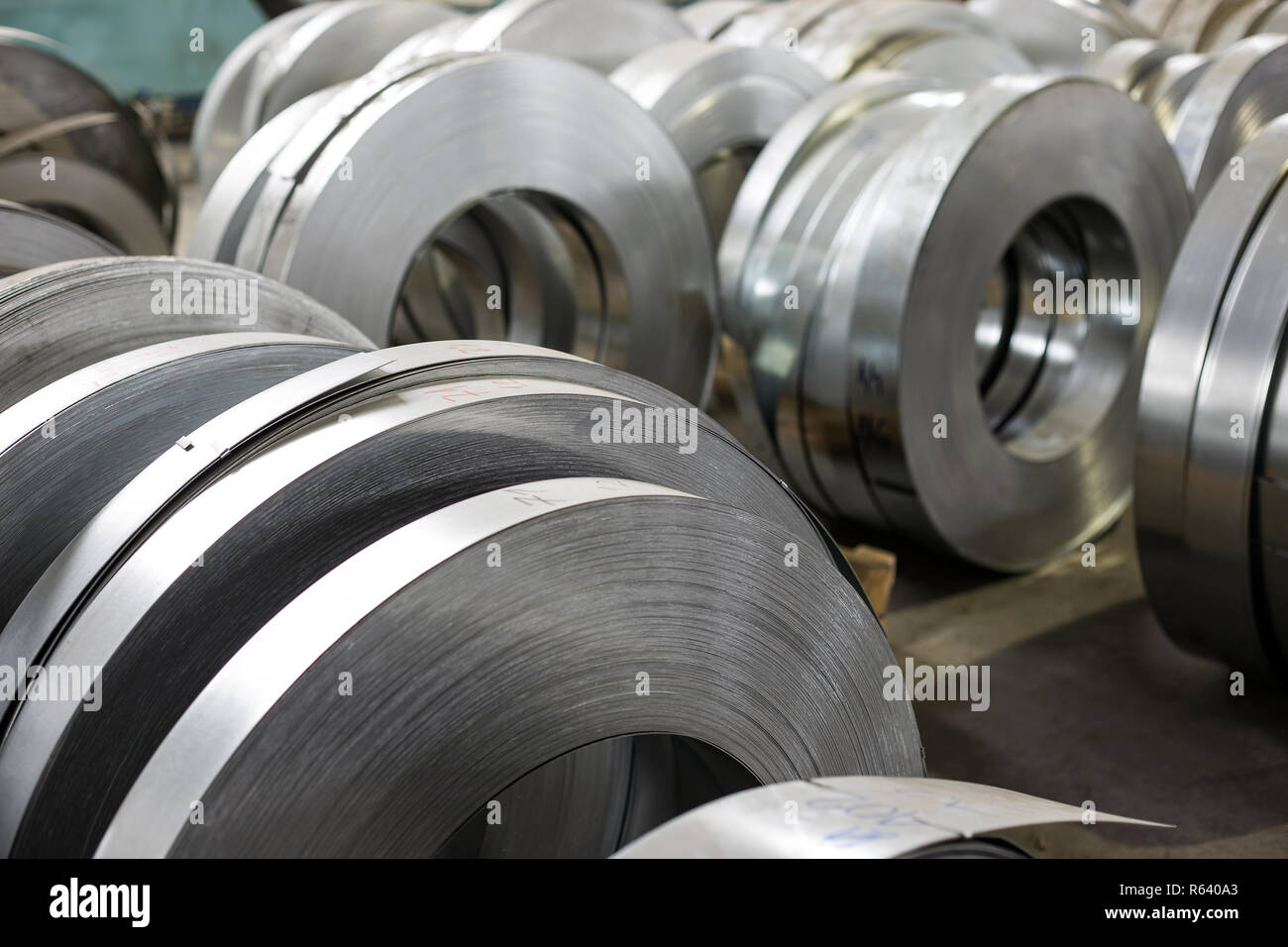 sheet tin metal rolls Stock Photo