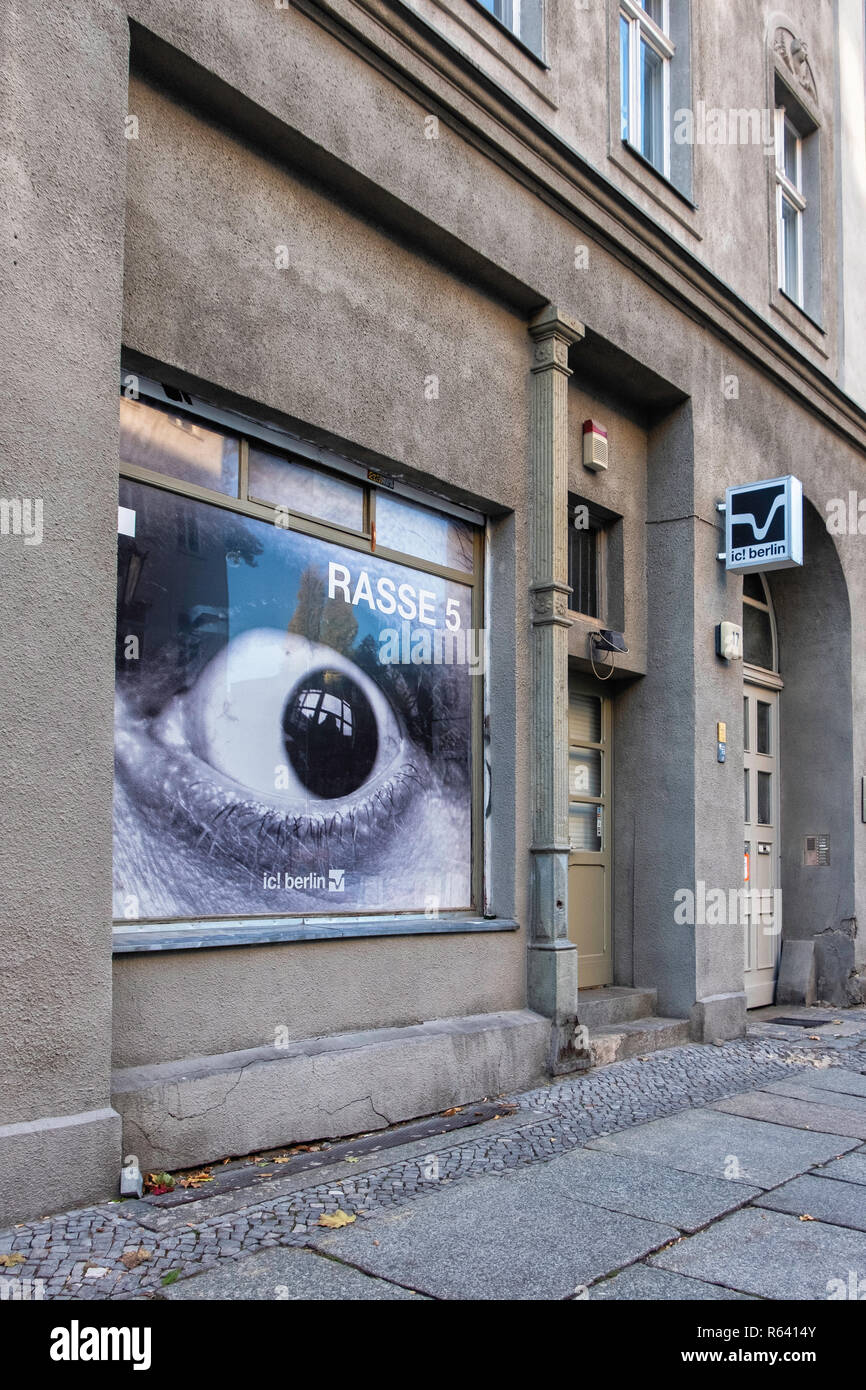 Berlin,Mitte,ic! Designer eyewear, spectacles & glasses store in historic listed building,Max Beer strasse 17 - Stock Image