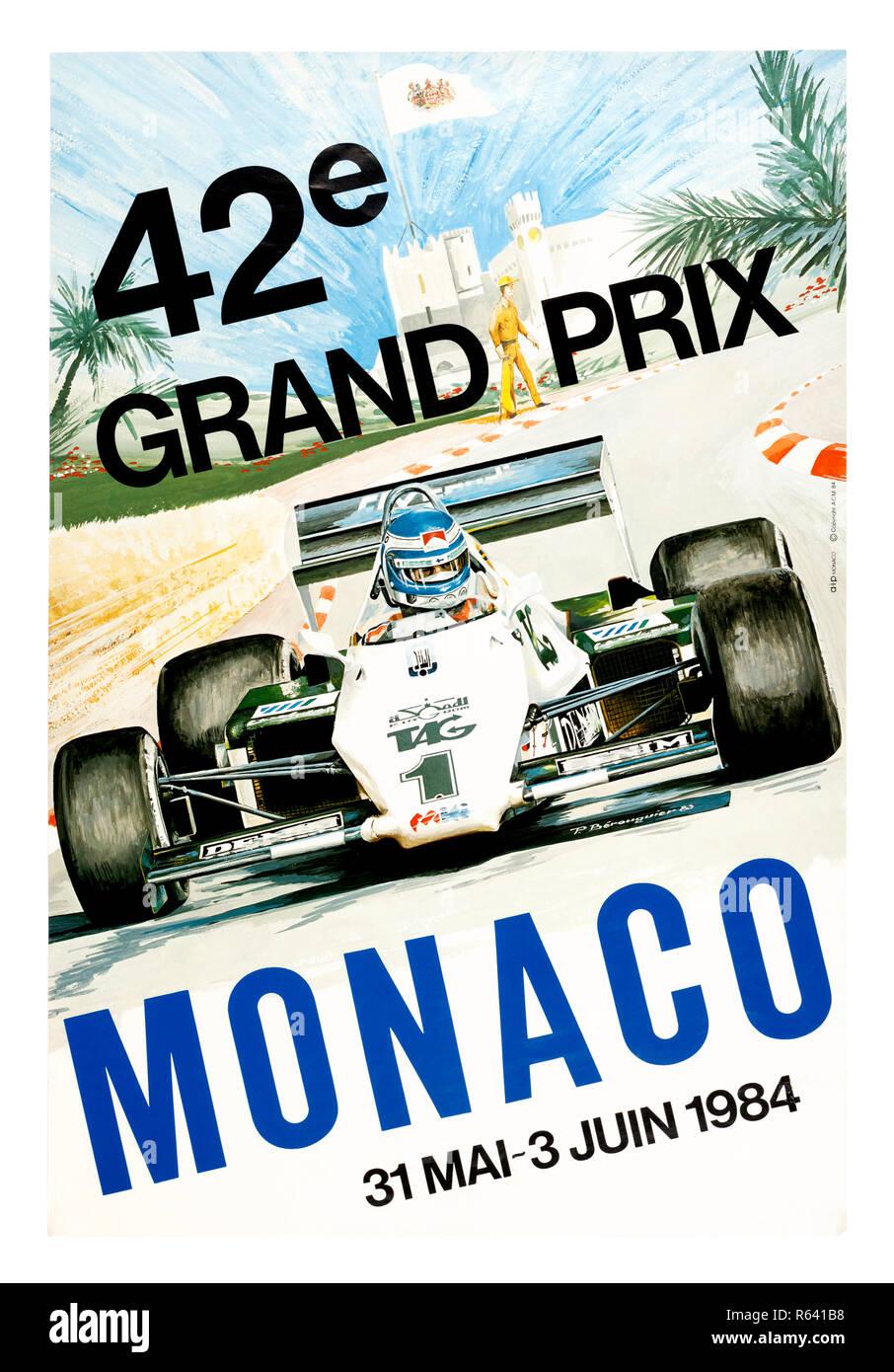 Vintage poster for the 1984 Monaco Grand Prix Formula 1 race - Stock Image
