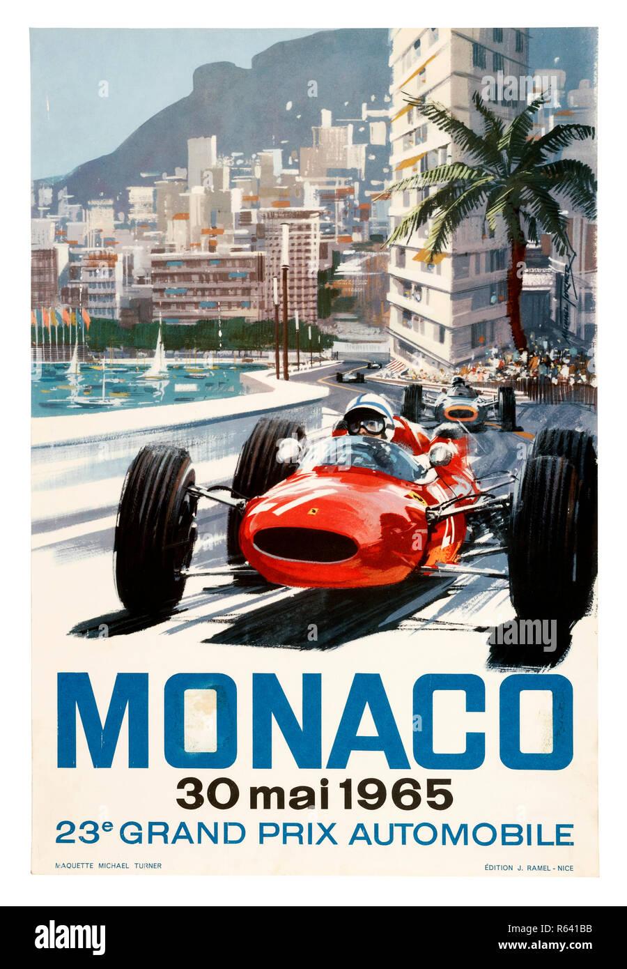 Vintage poster for the 1964 Monaco Grand Prix Formula 1 race - Stock Image