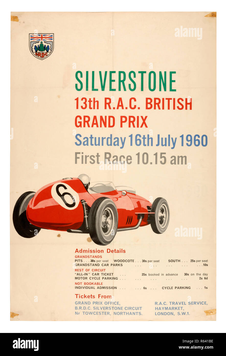 Vintage poster for the 1960 RAC British Grand Prix Formula 1 race at Silverstone - Stock Image