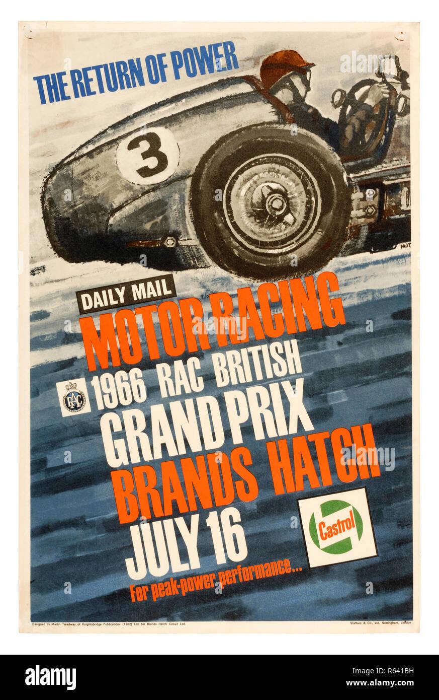 Vintage poster for the 1966 RAC British Grand Prix Formula 1 race at Brands Hatch - Stock Image