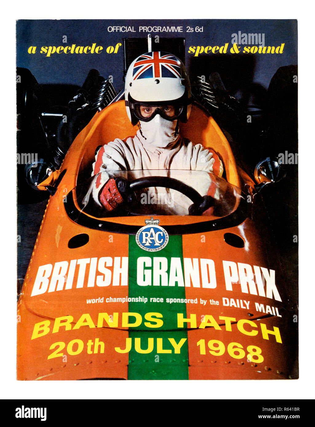 The front cover of a vintage official programme for the 1968 British Grand Prix Formula 1 race at Brands Hatch - Stock Image