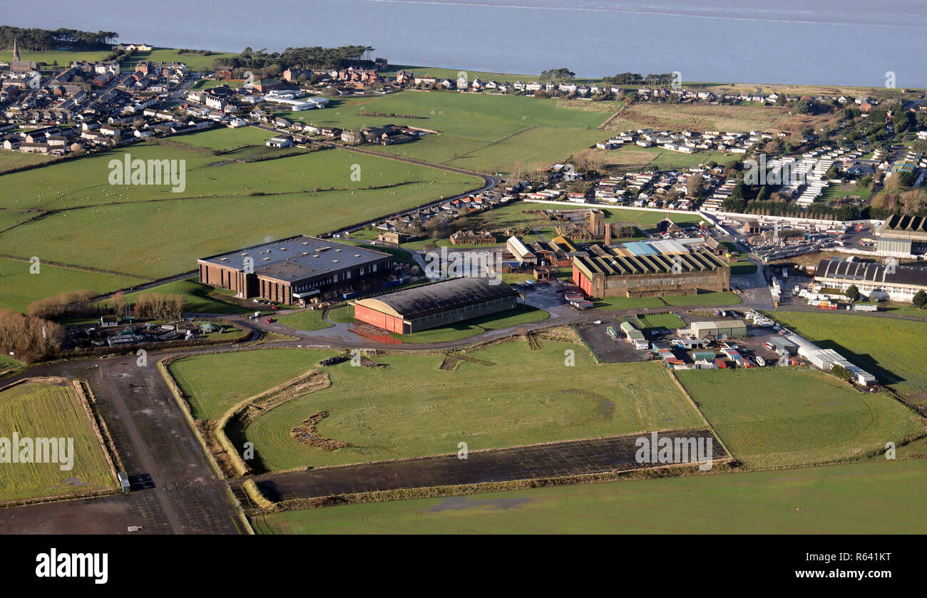 aerial view of hangars at Silloth aerodrome, now disused, Cumbria Stock Photo