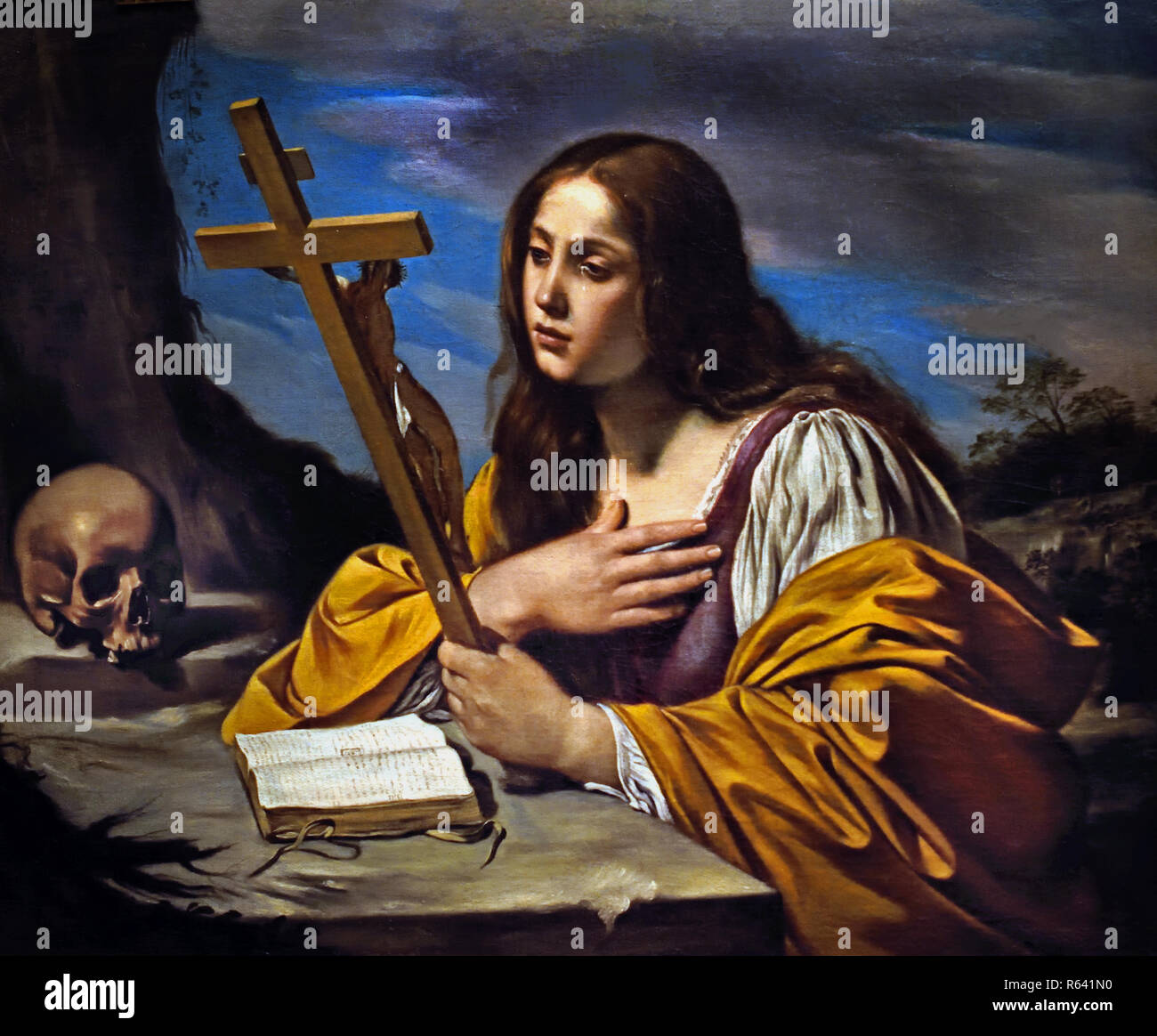 Mary Magdalene in contemplating the Cross 1630 Matteo Loves 17th century, Italy, Italian. - Stock Image