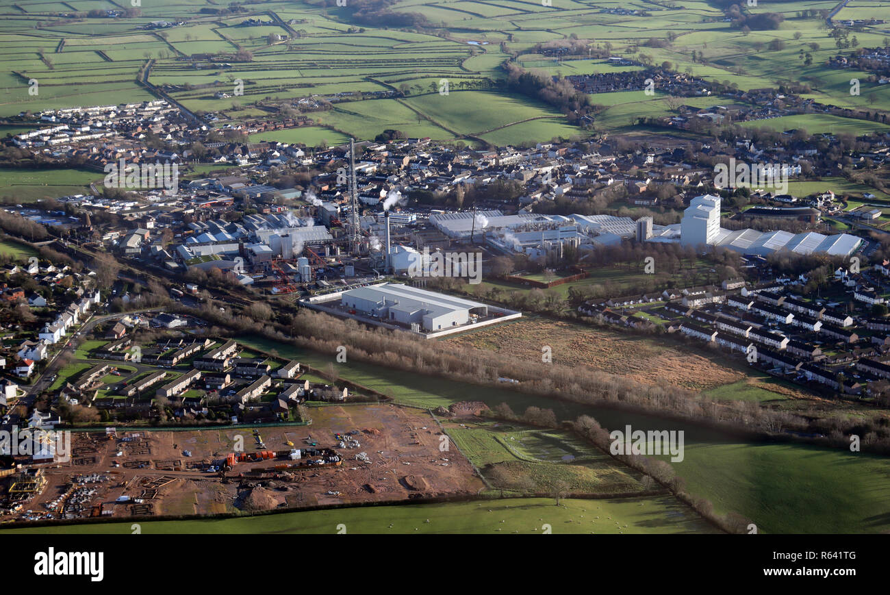 aerial view of the Innovia Films factory at Wigton, Cumbria - Stock Image