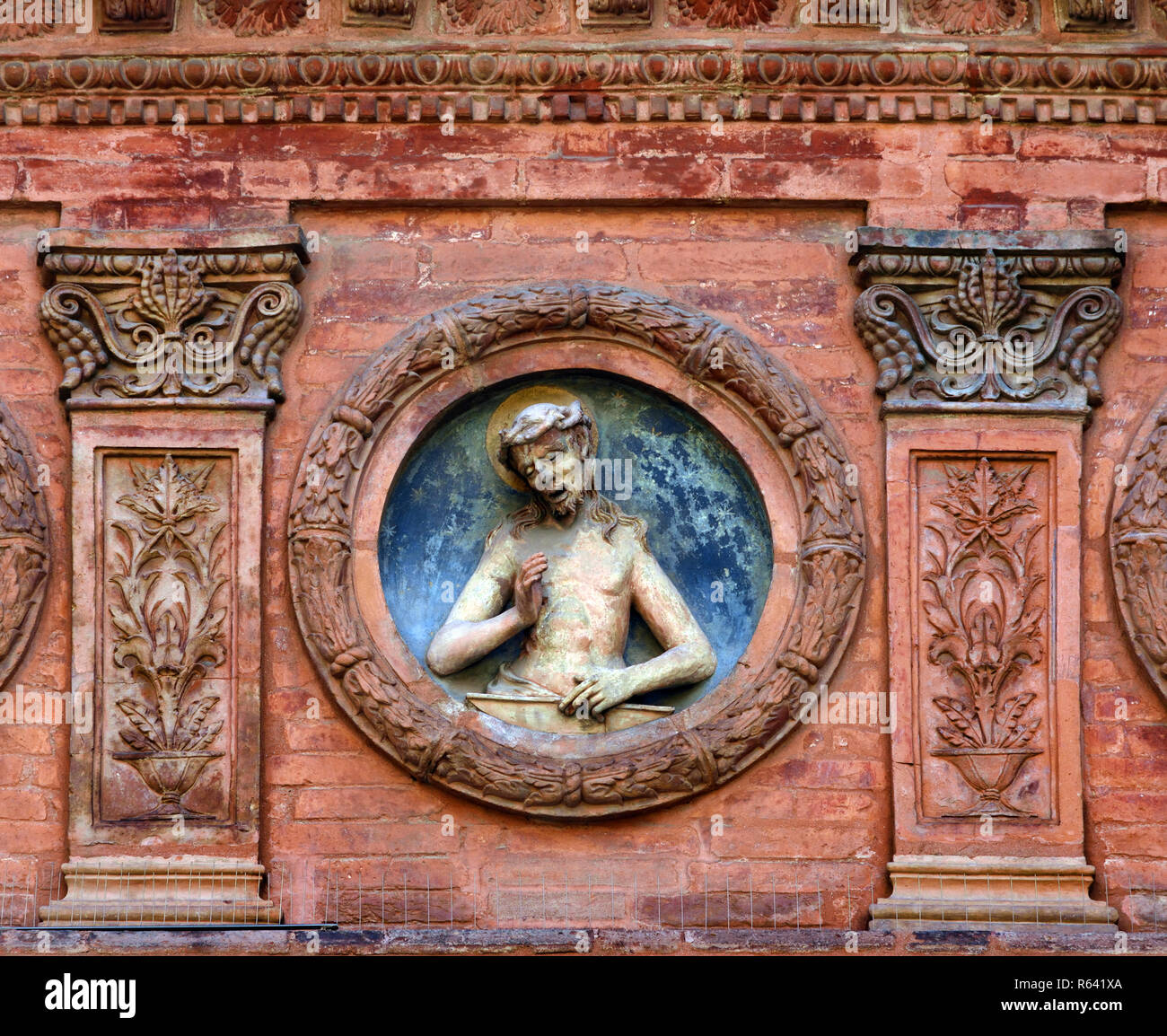 The Church of Spirito Santo Bologna Italy, Italian. ( This tiny church is notable for its facade featuring relief sculptures. It dates back to the 15th century.) - Stock Image