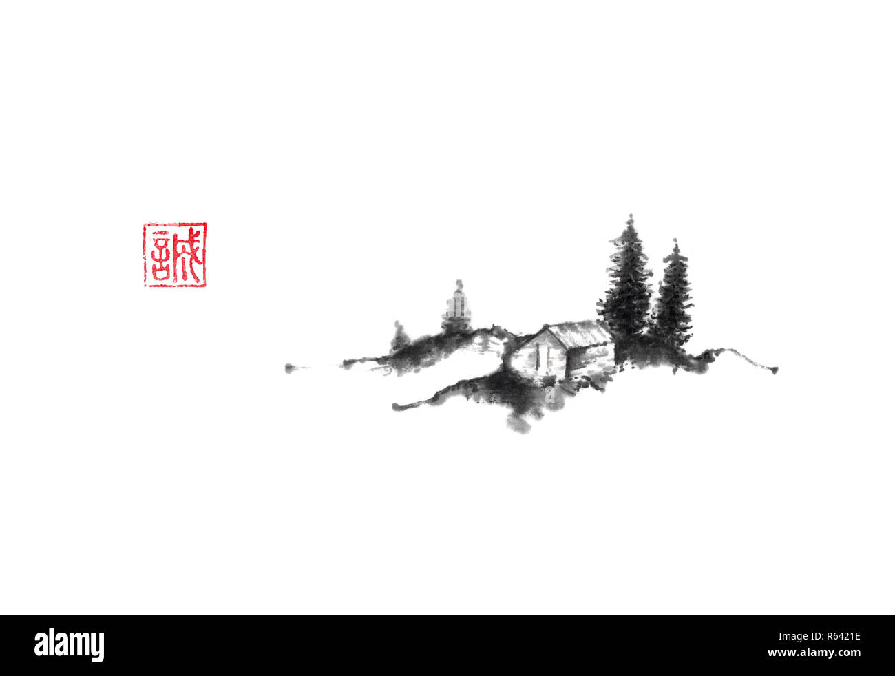 House in the hills Japanese style original sumi-e ink painting. Hieroglyph featured means sincerity. Great for greeting cards or texture design. - Stock Image