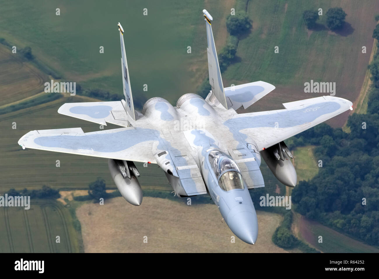 United States Air Force (USAF) McDonnell Douglas F-15 Eagle in flight. Photographed at Royal International Air Tattoo (RIAT) - Stock Image