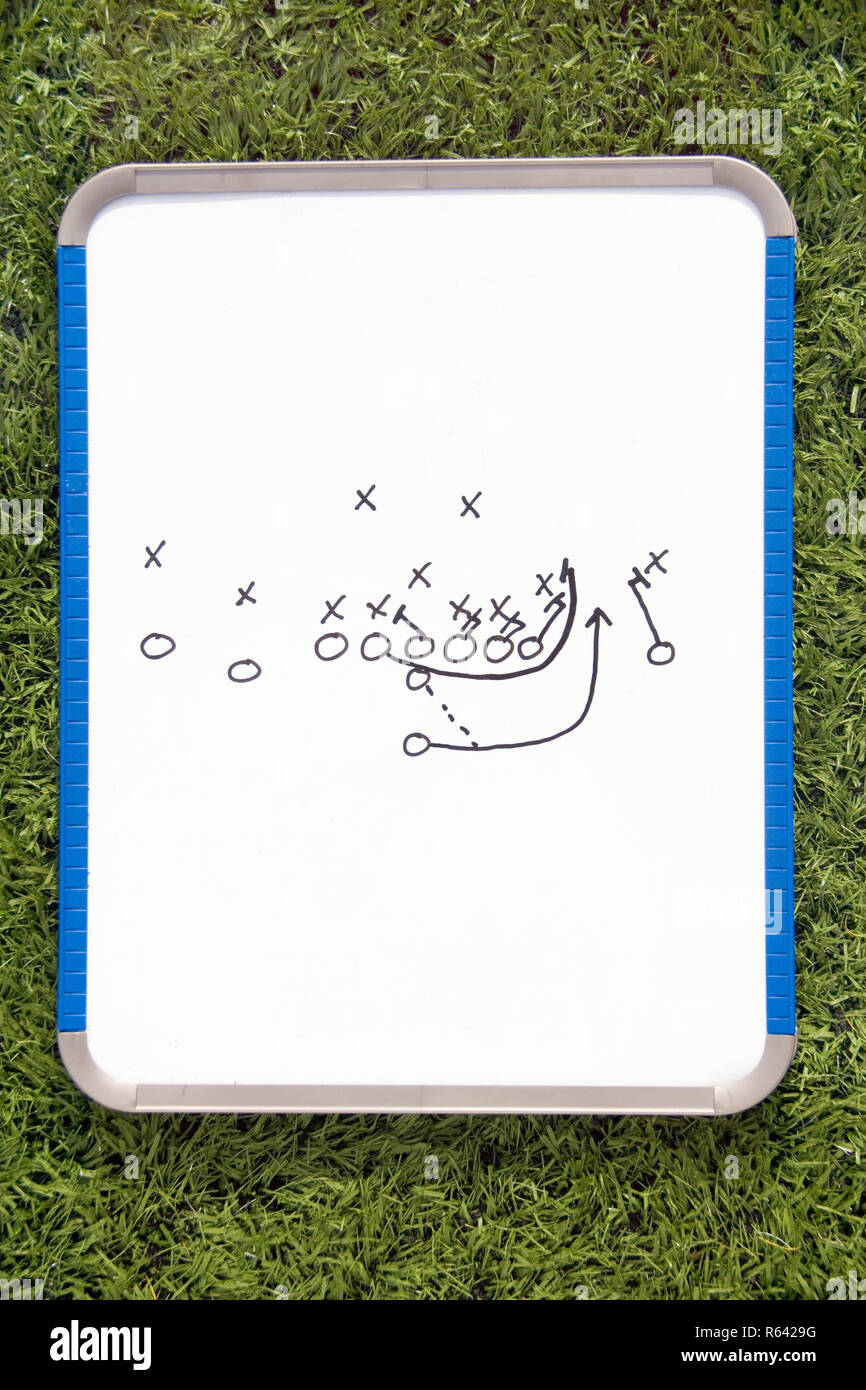 Football Clipboard with Play Diagram Stock Photo - Alamy
