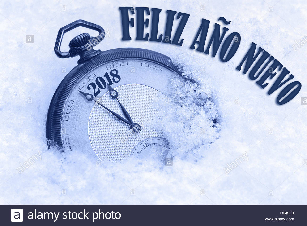 2018 greeting, Happy New Year in Spanish language, Feliz ano nuevo text - Stock Image