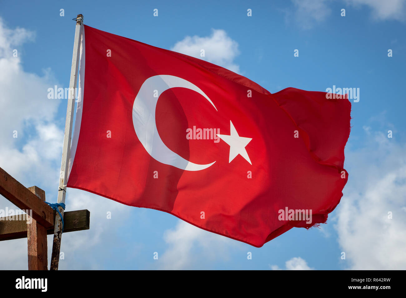 Turkish flag - Turkey Republic national flag waving with the wind in the sky. - Stock Image