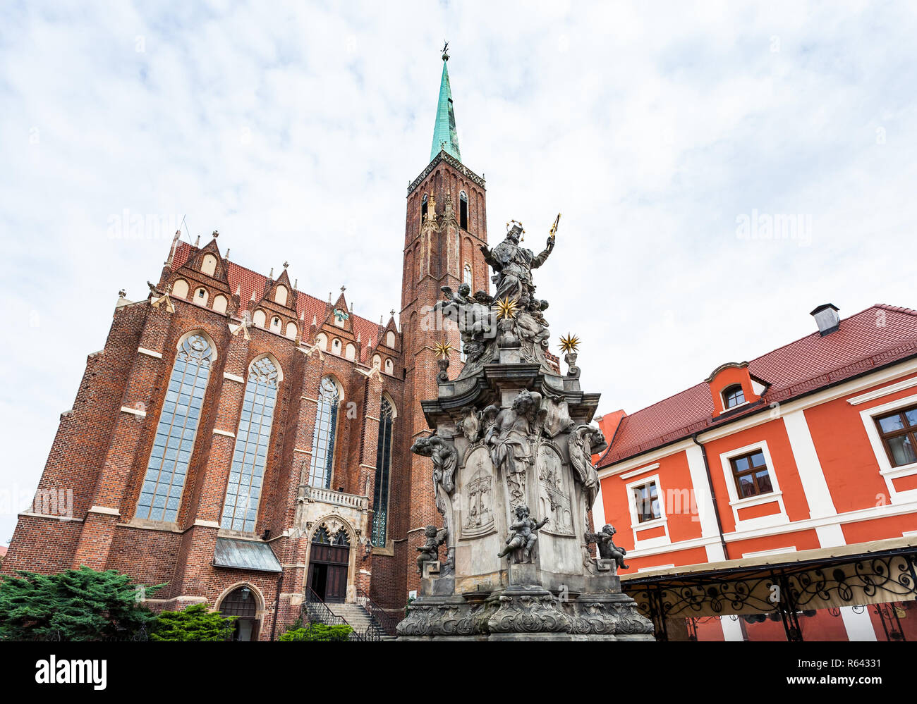 John of Nepomuk statue in Wroclaw city Stock Photo