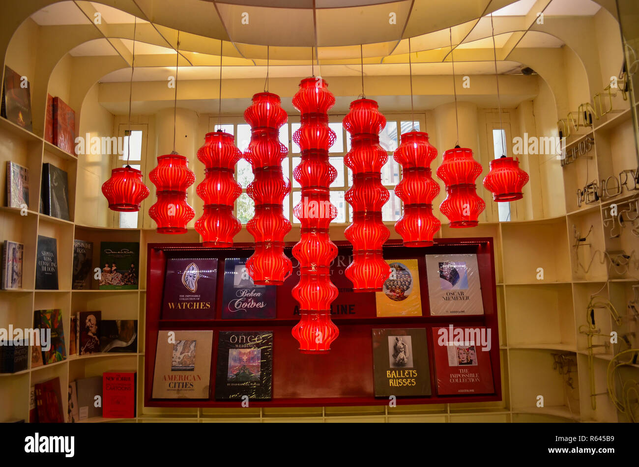 Hanging Lanterns Christmas Decorations At A Book Store In Connaught Place Delhi India Stock Photo Alamy