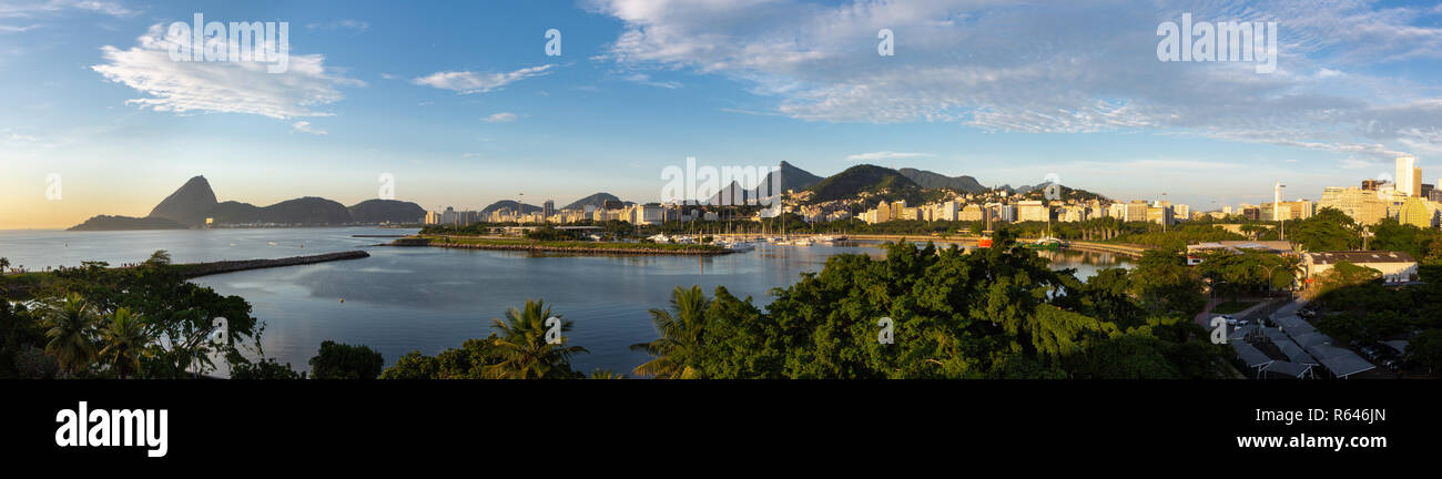 Beautiful panoramic view of the city of Rio de Janeiro with sugar loaf and corcovado at dawn. Stock Photo