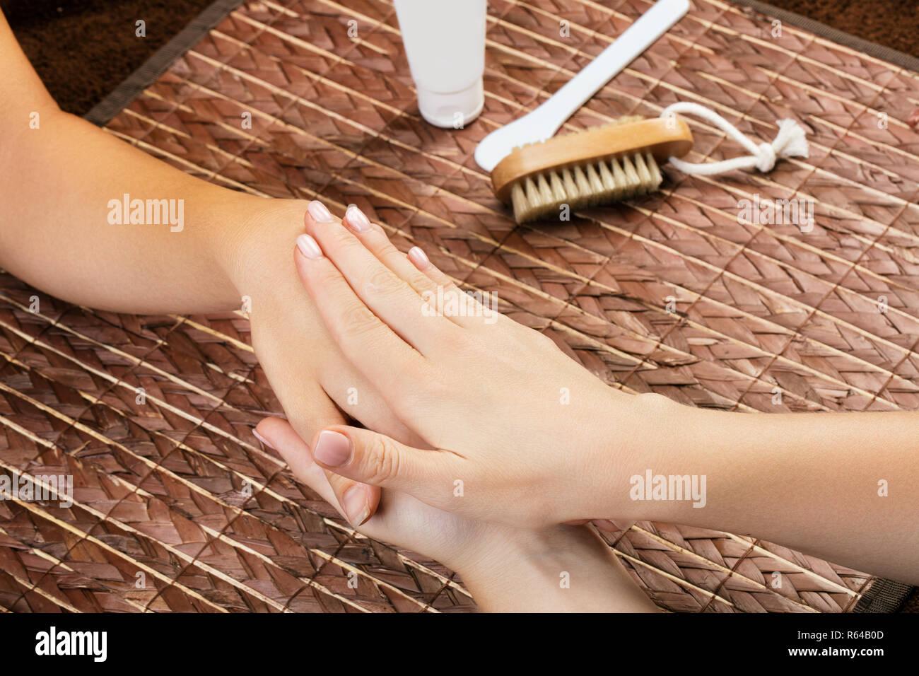 Hand massage, skin care - Stock Image