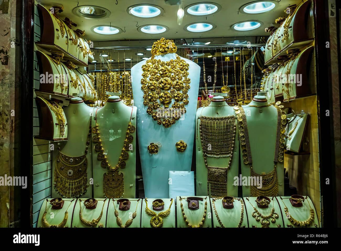 Dubai Gold Souk Jewelry Decoration Ornament at Shop Showcases - Stock Image