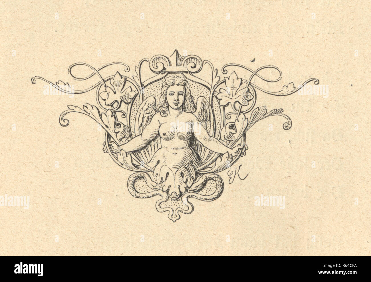 Vintage engraving of a Classical style design element ogf a woman - Stock Image