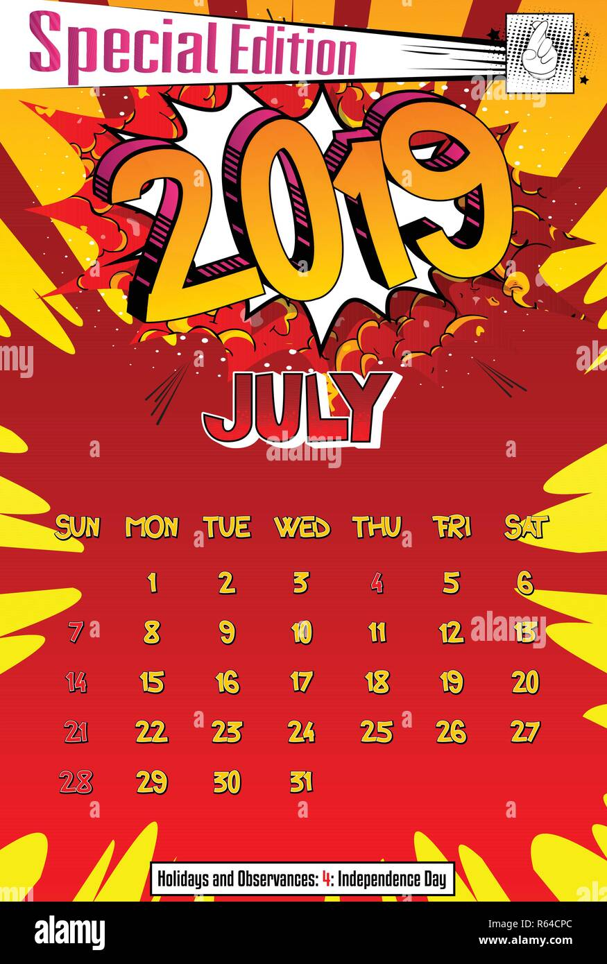 Calendario Julio 2019 Vector.2019 Retro Style Comic Book Calendar Template For July Pop