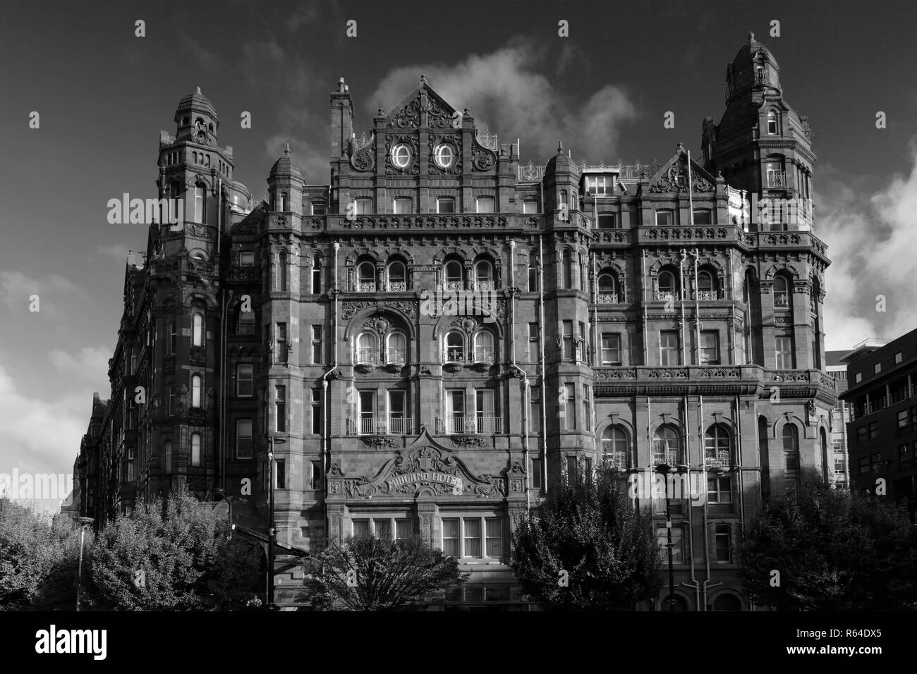 The Midland Hotel, 16 Peter St, Manchester City Centre, Manchester, Lancashire, England, UK - Stock Image