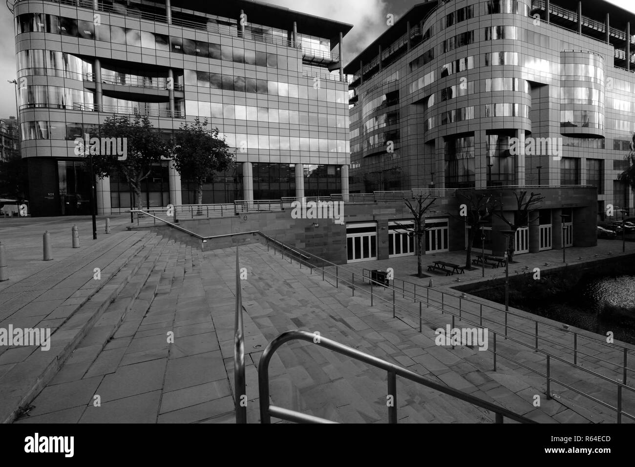 Architecture on Barbarolli Square, Great Bridgewater, Manchester City, Lancashire, England, UK - Stock Image