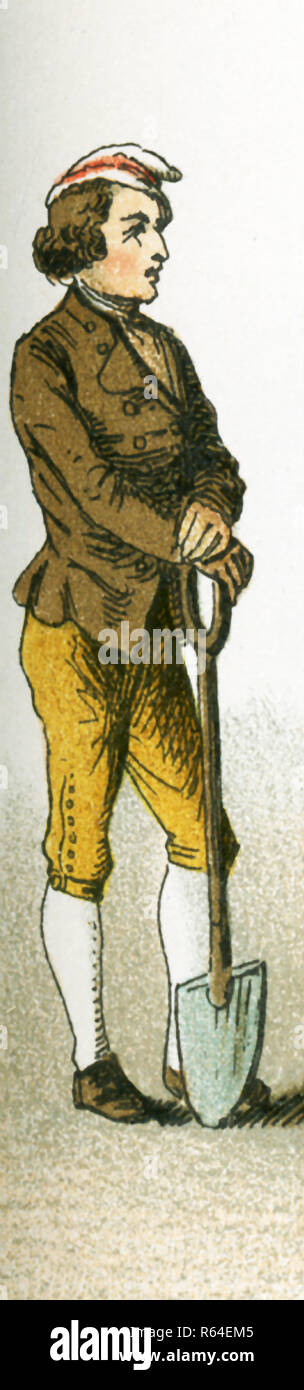 The figure picture here is a German peasant in 1700. TThis illustration dates to 1882. - Stock Image