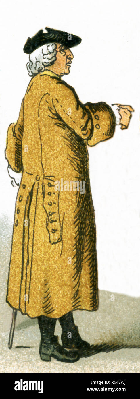 The figure pictured here is a German citizen in 1700. This illustration dates to 1882. - Stock Image