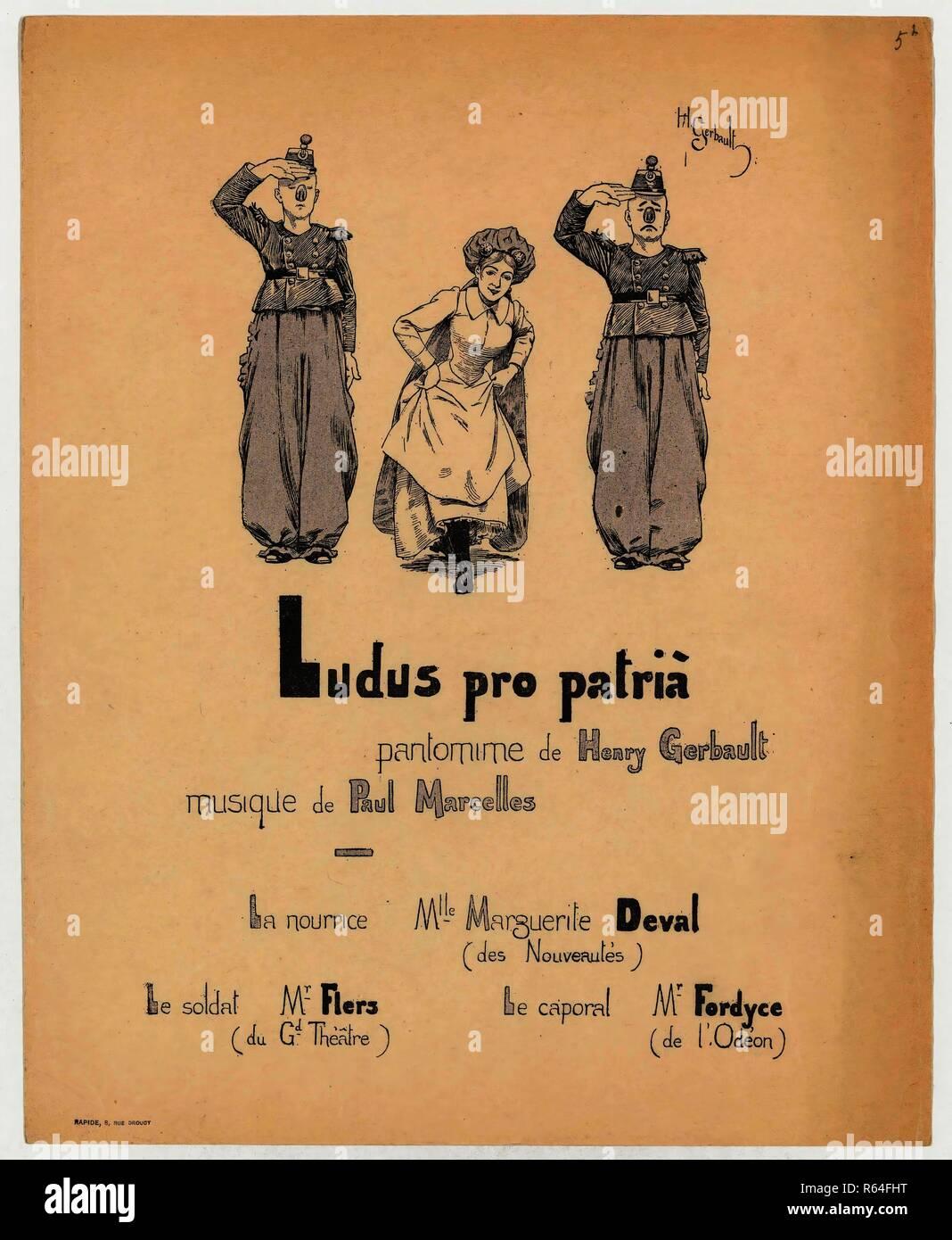 Theatre programme for Ludus pro patria by Henry Gerbault (Théâtre La Bodinière, 15 December 1892). Dimensions: 28.2 cm x 22.6 cm, 24 cm x 16 cm. Museum: Van Gogh Museum, Amsterdam. - Stock Image