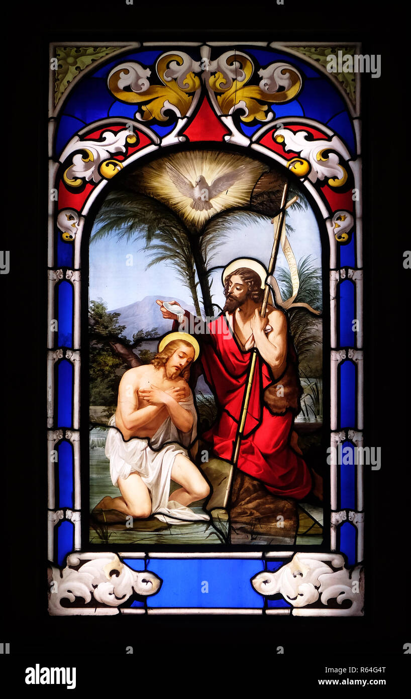 Baptism of the Lord, stained glass window in the Church of St. Ambrose and