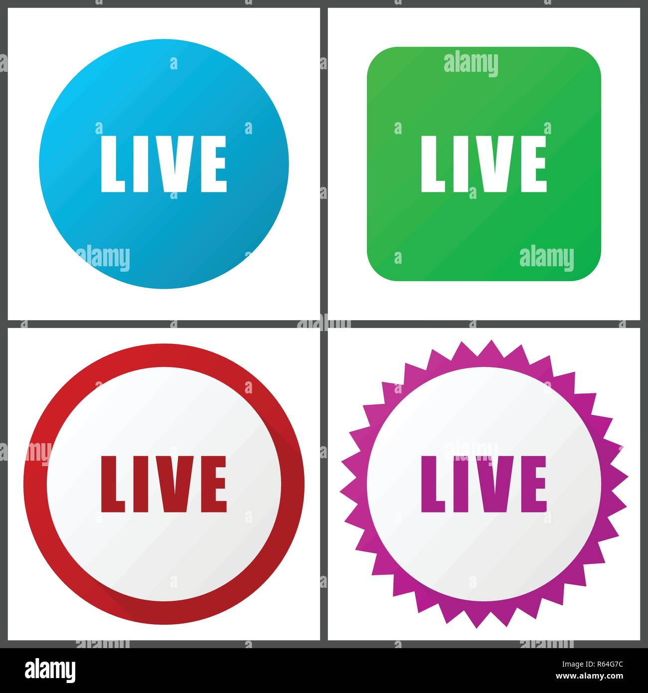 Live red, blue, green and pink vector icon set. Web icons. Flat design signs and symbols easy to edit - Stock Image