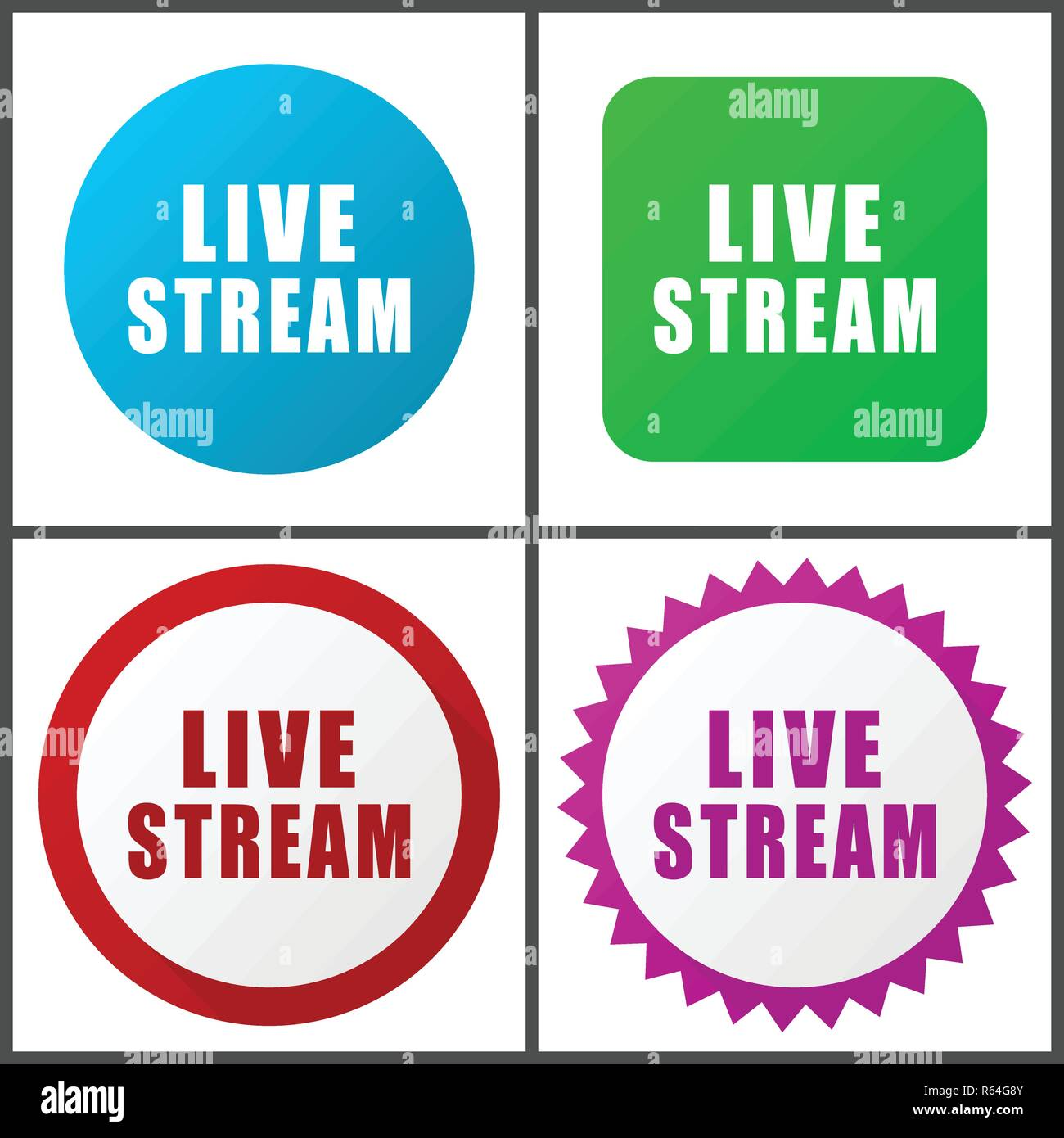 Live stream red, blue, green and pink vector icon set. Web icons. Flat design signs and symbols easy to edit - Stock Image