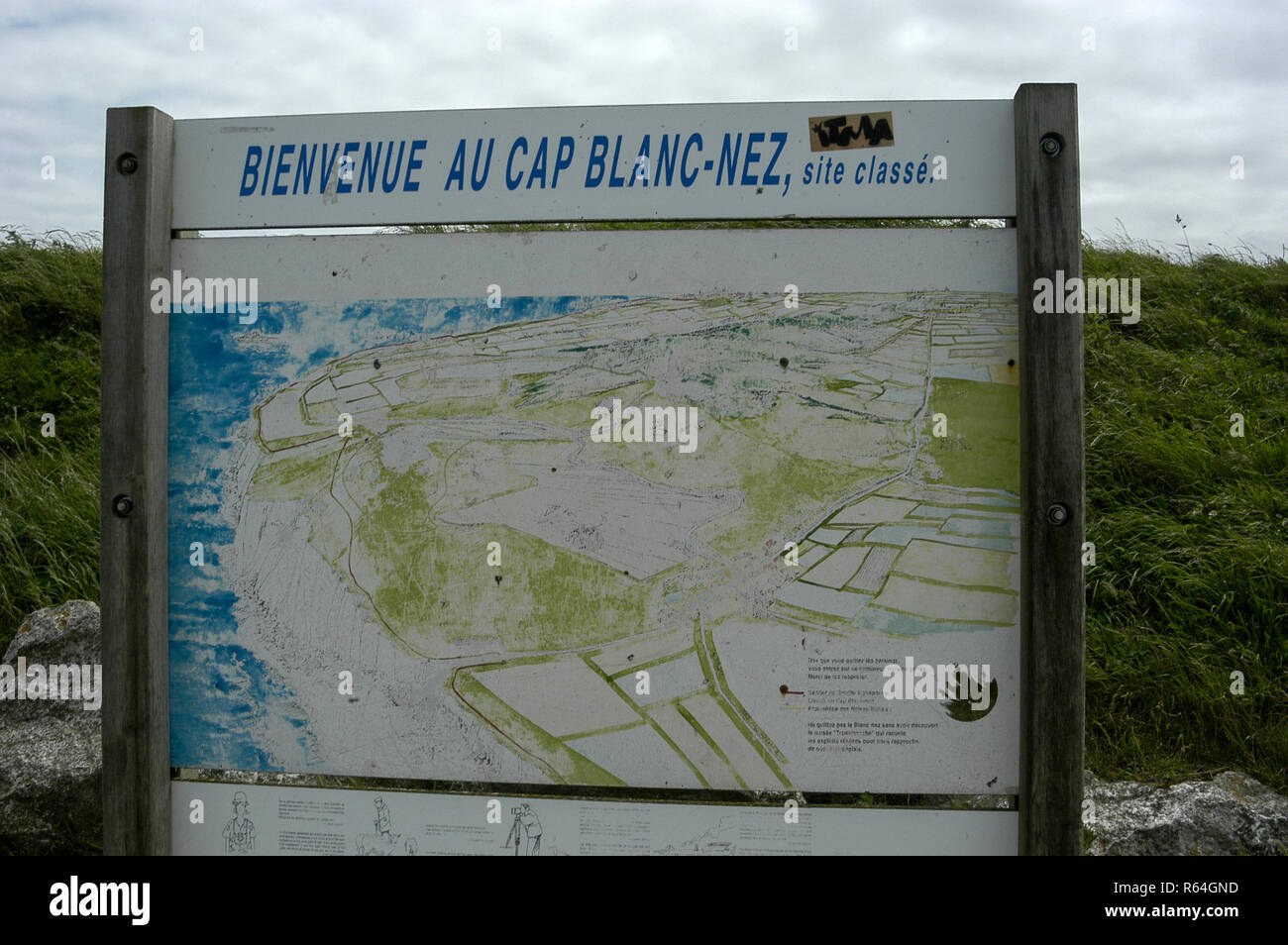 Map Of France North Coast.A Visitor S Welcome Board Showing A Map Of Cap Blanc Nez South Of