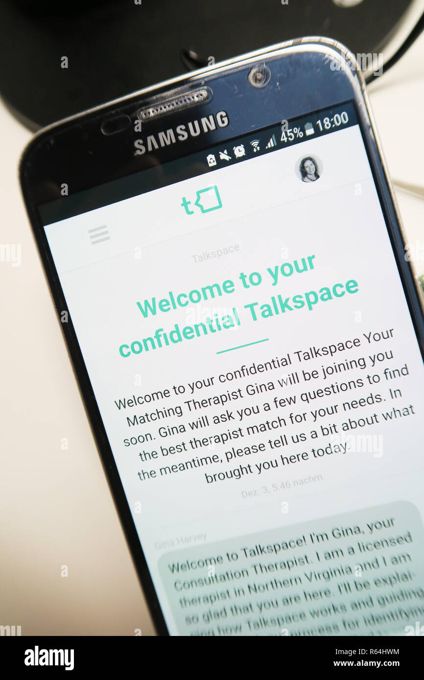 Image of the Talkspace app on a smartphone , welcome screen - Stock Image