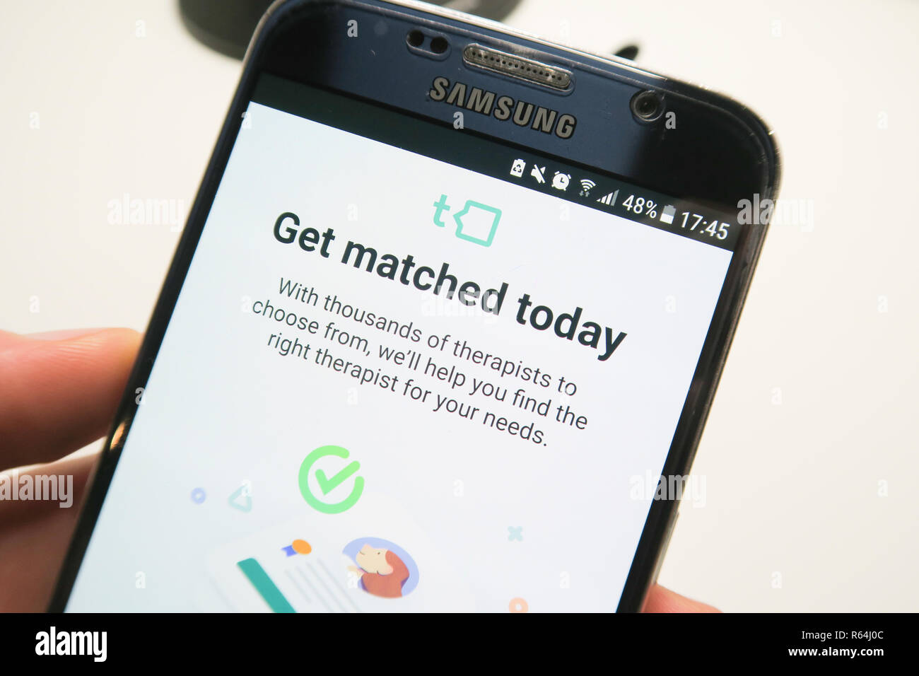 Image of the Talkspace app on a smartphone , get matched today Stock Photo