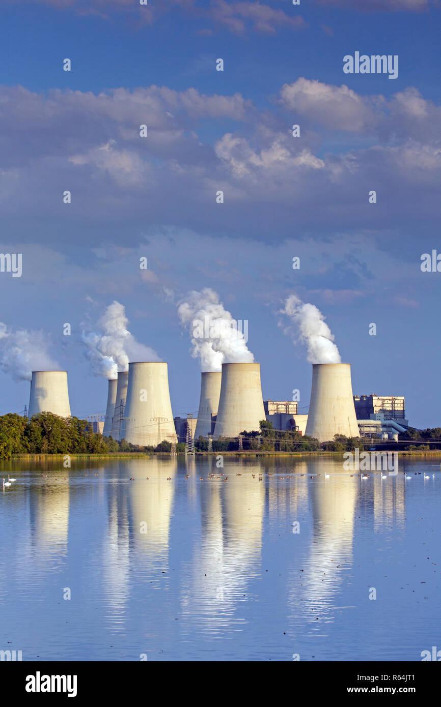 Jänschwalde / Jaenschwalde lignite-fired power station, third-largest brown coal power plant in Germany at Brandenburg, Spree-Neiße Stock Photo